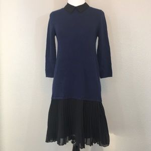 ASOS Blue & black drop waist pleated dress size 2